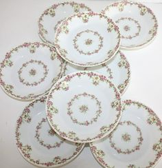 Set 10 Antique French Wm. Guerin & Cie Limoges Pink Rose Garland Berry Bowls