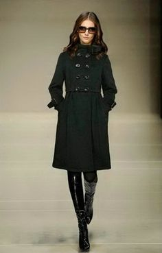 Burberry Cashmere Pleated Women Coat Black