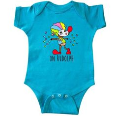 Inktastic On Rudolph Infant Creeper Baby Bodysuit Clown Reindeer Red Nose Santa Christmas Holiday Confetti Funny Xmas Lol Humor Crude Gift One-piece, Infant Boy's, Size: Newborn, Blue