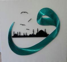 Desen Diy Eid Decorations, Sans Art, Islamic Art Calligraphy, Arts And Crafts, Diy Crafts, Turkish Art, Writing Art, Pastel Art, Fantastic Art
