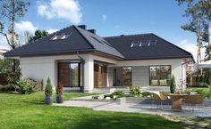 Na Miarę 1 - wizualizacja 2 - Nowoczesny projekt domu z kuchnią od frontu House Plans, Unusual Homes, Modern House Design, Southern House Plans, House Exterior, Bungalow House Design, Bungalow Style, New Homes, Spanish House