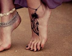 feather hand tattoos | Cute Feather Tattoo on Foot | Cool Tattoo