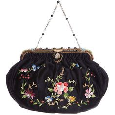 Preowned 1920s French Black Silk Bag With Floral Embroidery & Hand... (6.240 ARS) ❤ liked on Polyvore featuring bags, handbags, clutches, 1920s, purses, black, silk purse, beaded hand bags, 1920s purse and hand bags