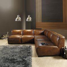 Chauffeuse en cuir marron L 71 cm