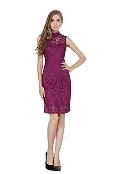 Little Smily Women's Crochet Lace Form Fitting High Neck Cocktail Bodycon Dress, Grape, L *** Click image for more details.