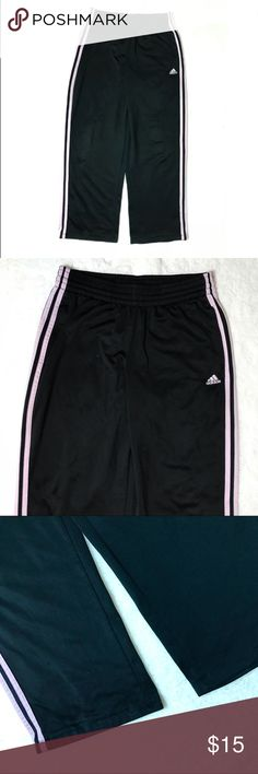 """Adidas Pink Three Stripe Athletic Lounge Pants M Adidas Black Pink Three Stripe Pull On Drawstring Athletic Lounge Pants Medium  *Slight signs of wear and wash. Pre-pilling. Please see pictures.  Measurements: 28"""" Waist 29"""" Inseam 9"""" Rise Pants Track Pants & Joggers"""