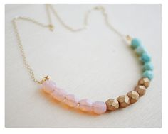 Color Block Necklace  Beaded Necklace  Gold by hersilverlining, $30.00