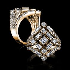 Robert PROCOP - Queen of Diamonds - The Diamond's shape and symbolism has been recognized for centuries. As a shape, the Diamond was historically set in its raw cubic form before advanced Diamond cutting was developed. This traditional shape is expressed symbolically throughout every dimension of our Queen of Diamonds Collection.