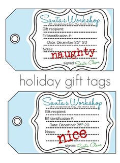 Naughty or nice Christmas tag printables . . . so cute :-)