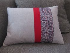 Modern striped throw pillow -- linen and Liberty fabric