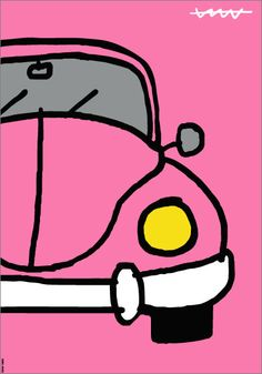 Escarabat rosa Small Canvas Paintings, Small Canvas Art, Cute Paintings, Diy Canvas Art, Art Pop, Art Sketches, Art Drawings, Volkswagen, Psychedelic Drawings