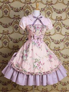 Vintage style short-sleeved pink Lolita dress, with brown bow, mint apron with printed flowers and pink bow. Sweet, Classic or Hime Lolita styles. Kawaii Fashion, Lolita Fashion, Cute Fashion, Vintage Fashion, Vintage Style, Style Lolita, Gothic Lolita, Pretty Dresses, Beautiful Dresses