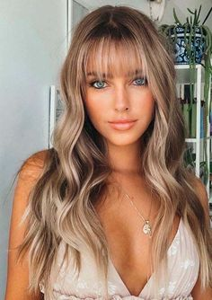 Hair Color For Women, Unique Hair Color, Long Hair With Bangs, Wispy Bangs, Thin Hair, Trending Haircuts, Hairstyles With Bangs, Long Haircuts With Bangs, Hairstyle Ideas