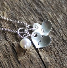 Heart Initial Necklace Personalized by 2sistershandcrafted on Etsy, $34.00+