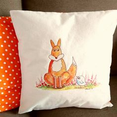 Fox Cushion Cover. Artist Cushion. Fox Cover. Blue Bird Cushion. Calico Cushion. Linen Cushion. Fox Pillow. Fox Pad. by SueRocheIllustration on Etsy https://www.etsy.com/listing/259217353/fox-cushion-cover-artist-cushion-fox
