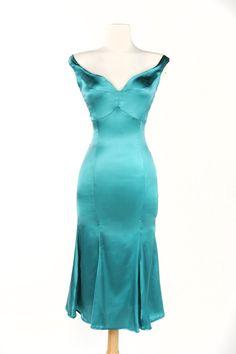 Tamara Dress in Porcelain Turquoise Stretch Silk
