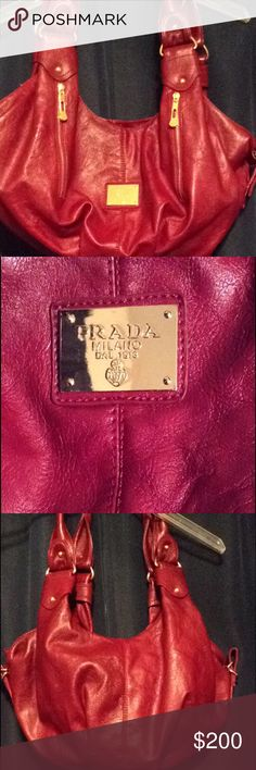Spotted while shopping on Poshmark: Real Red Prada Hobo Purse! #poshmark #fashion #shopping #style #Prada #Handbags