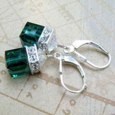 Emerald Crystal Earrings Green Sterling Silver Dangle by fineheart, $28.00