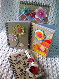 Notebooks: Button flower embellishment Love the designs Felt Crafts, Diy And Crafts, Crafts For Kids, Paper Crafts, Altered Composition Notebooks, Decorate Notebook, Notebook Covers, Scrapbook Embellishments, Button Crafts