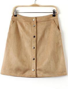 Falda botones bolsillos entallada -albaricoque 16.26