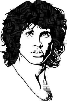Jim Morrison Vector Portrait by Vectorportal.com