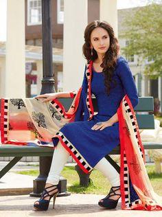 USD 48.74 Blue Silk Churidar Style Salwar Kameez 31177