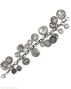 """The familiar jingle of coins will make this Sterling Silver Bracelet a treasure in your jewelry box. Fits up to a 7"""" wrist with an adjustable Clasp."""