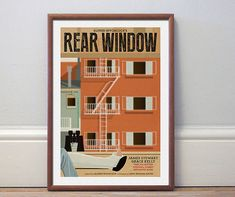 Movie poster Hitchcock 'Rear Window' colour print by Kinographics