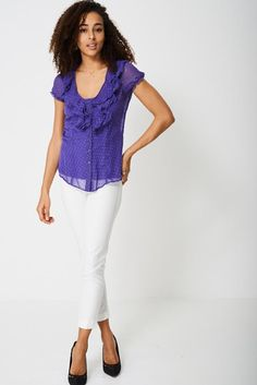 Sheer Top with Frills in Polka Dot http://ladiesfashionnow.com/products/sheer-top-with-frills-in-polka-dot?utm_campaign=crowdfire&utm_content=crowdfire&utm_medium=social&utm_source=pinterest