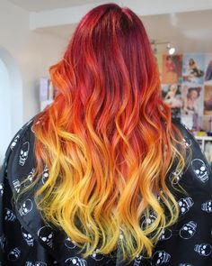 INFERNO Fire ombre from pink, to purple, to red, to orange and finally electric… – yellow hair Orange Ombre Hair, Brown Ombre Hair, Yellow Hair, Purple Hair, Orange Pink, Red Hair, Pink Purple, Fire Hair Color, Fire Ombre Hair