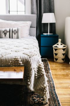 textured boho bedroom in neutral hues