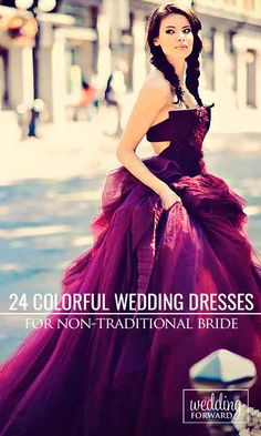 24 Colorful Wedding Dresses For Non-Traditional Bride ❤ Colourful wedding dresses look fresh in comparison with traditional white dresses. See more: http://www.weddingforward.com/colourful-wedding-dresses/ #weddings #dress