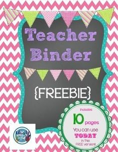 "**FREE** Printable Teacher's Binder ~ chalkboard style!.....Follow for Free ""too-neat-not-to-keep"" teaching tools & other fun stuff :)"