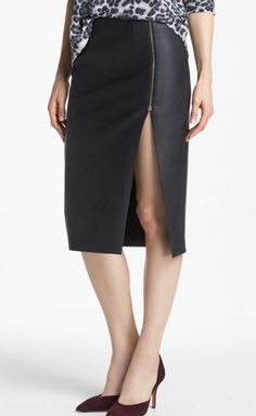 Tildon Slit Front Faux Leather Zip Pencil Skirt in Black Size10 Only $39