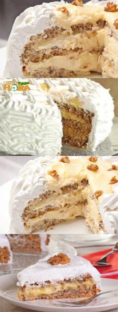 Bolo de Nozes com Baba de Moça #BolodeNozescomBabadeMoça #BolodeNozes #BolocomBabadeMoça #Receitatodahora Other Recipes, Sweet Recipes, Cake Recipes, Pastel Cakes, Best Dishes, Piece Of Cakes, Mini Cakes, Cake Cookies, Vanilla Cake