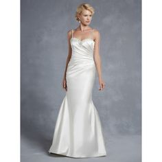 Noble Satin Trumpet/Mermaid Spaghetti Straps Spring Sleeveless Pearl Detailing Empire Ivory Wedding Dresses