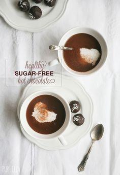 Healthy Sugar-free Hot Chocolate topped with Vanilla Bean Ice Cream #sugarfree #stevia #monkfruit #sodelicious #hotchocolate #healthy #valentinesday