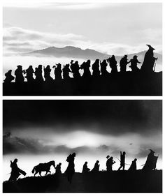 The companies of the Hobbit and LOTR in silhouette.