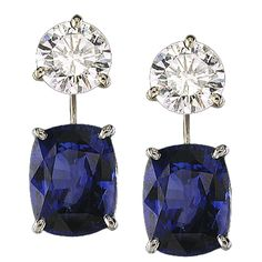Natural Sapphires Drop Earrings -