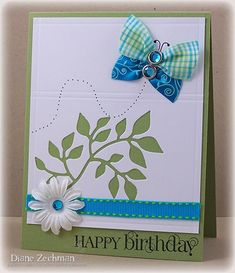 card by Diane Zechman.... using ribbon scraps for the butterfly!.... (change sentiment)