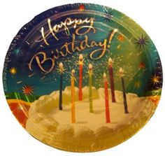 """Custom & Unique {9"""" Inch} 8 Count Multi-Pack Set of Medium Size Round Circle Disposable Paper Plates w/ Birthday Cake & Happy Birthday Celebration Party """"Blue, Green, White & Gold Colored"""""""