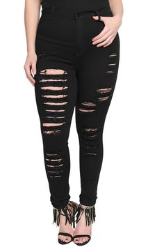 TheMogan Women's Vintage High Waisted Ripped Skinny Jeans Black-2XL. HIGH QUALITY dyed black stretch denim!! Distressed details. Five pockets design. Concealed zip closure at front. High rise waist with belt loops. 57% rayon, 26% cotton, 16% polyester, 1% spandex.