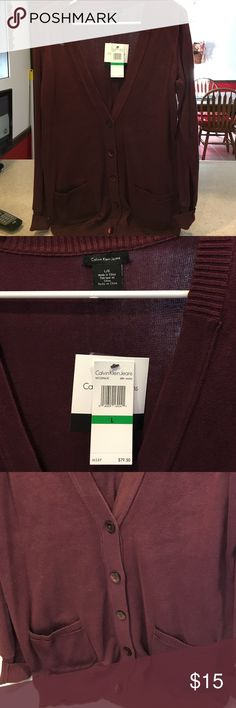 Best in Burgundy!!   Classic sweater This lovely sweater is just waiting for you to add to your fabulous closet!  Brand new with tags, just too small for me now. Calvin Klein Jeans Sweaters Cardigans
