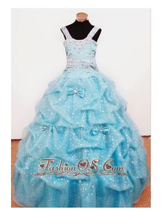 Bowknot Ball Gown Straps Aqua Blue Beading Little Girl Pageant Dresses For Custom Made  http://www.fashionos.com  http://www.facebook.com/quinceaneradress.fashionos.us   A gorgeous pick up crystal tulle skirt with scattered bows completes the look of this little girl long pageant dress. This adorable dress will make your little pageant girl a star!