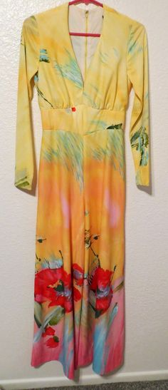 85868a1b79 Vintage Polyester Jumpsuit Palazzo Wide Pants Long Sleeves Tropical Print  Yellow Pink Hawaiian Hibiscus