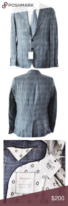 Billy Reid Blue Navy Walton Box Pleat Linen Blazer Billy Reid Walton Box Pleat Linen Blazer Beautiful blazer - Extremely Soft to the touch Shirt and tie are for display only and not included with the sale Details Color: Blue, 3 button front, Single breasted, Four button sleeves, Fully lined, 100% Linen, Made in the Italy Armpit To Armpit (Chest) 22 1/2 inches  Shoulder 18 1/4 inches Shoulder Seam To Sleeve End 26 inches Back Collar to Bottom Hem 28 3/4 inches Waist of Jacket 21 inches…