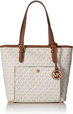 f57efc640fb230 Michael Kors Mk Jet Set Signature Shoulder Bag, Vanilla, Medium: Handbags:  Amazon