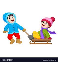A boy with a blue jacket is pulling the ice cart vector image on VectorStock Colouring Pics, Vector Free, Christmas Crafts, Presents, Clip Art, Birthday, Adobe Illustrator, Illustration, Pictures