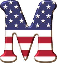 Alfabeto con la Bandera de USA Monogram Alphabet, Alphabet And Numbers, Monogram Letters, Alphabet Print, Scrapbook Letters, Banner Letters, Holiday Fonts, Captain America Birthday, Heart Stencil