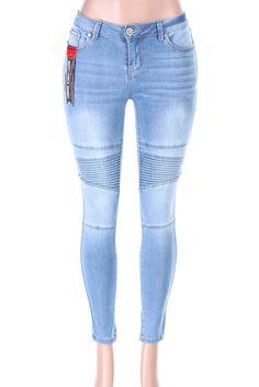 Salt Tree Women's EnJean Moto Style Washed Out Biker Skinny Jeans Biker Jeans, Denim Jeans, Skinny Jeans, Tree Woman, Moto Style, Model, How To Wear, Cotton, Pants